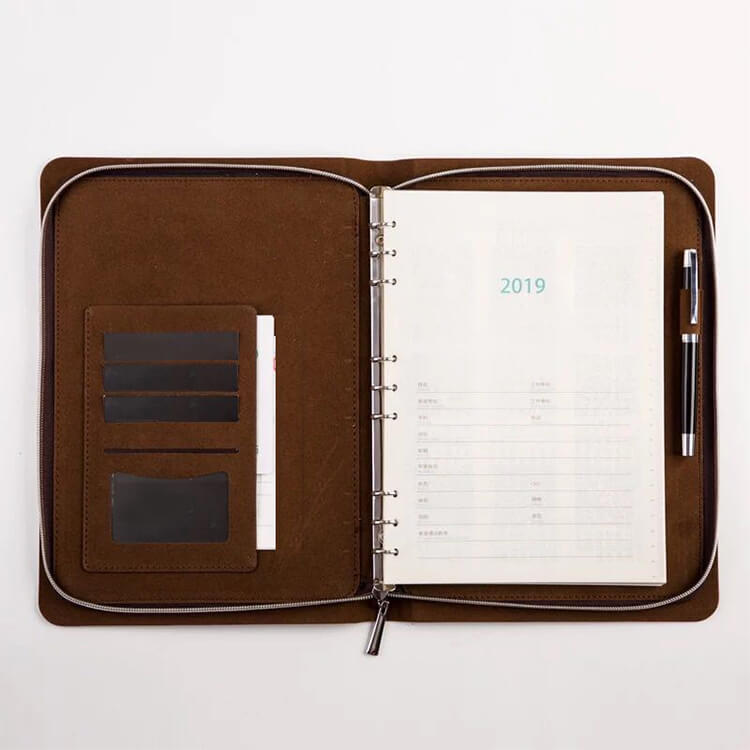 Custom PU Leather Cover Notebook With Zipper Pockets